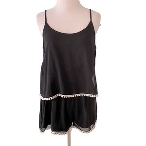 Annabelle Black Romper w/White Trim